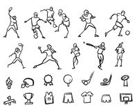 Football, Soccer and Baseballplayer Sketched Motion Doodle Set Stock Photos