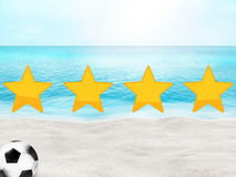 Football soccer beach sunny 3D background design. Graphic illustration modern design Royalty Free Stock Photography