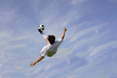Football - Soccer - Bicycle Kick. Football - Soccer Player performing Bicycle Kick stock photo