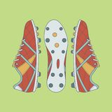 Football / Soccer Boots With Contour On Green Background. Retro Color Sport Vector Illustration Royalty Free Stock Photos