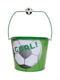 Football (Soccer) Bucket. A football (soccer) sport themed pail (bucket) isolated over white Stock Photography