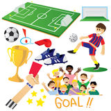Football or Soccer Cartoon Elements Royalty Free Stock Photo