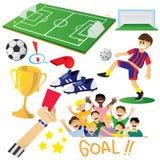 Football or Soccer Cartoon Elements Royalty Free Stock Photo