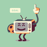 Football / Soccer Character In Retro Style. TV With The Ball In Hand. Goal Celebrating Fan. Stock Photos