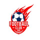 Football soccer club badge vector fire ball icon. Football club icon template of soccer ball flying with fire flame in goal gates. Vector isolated symbol of Stock Photos
