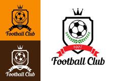Football or soccer crests. Sports crests or badges with soccer ball, wreath, crown and ribbon over shield and text Football Club at the foot of the image Stock Image