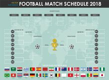 Football or soccer cup match schedule and wall chart . Vector for international world championship tournament 2018 . Flat design.  Stock Images