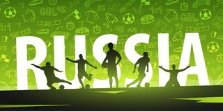Football or Soccer design banner with hand draw doodle elements and football player silhouette. Soccer championship 2018. Vector ball. Vector illustration Royalty Free Stock Images
