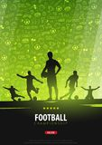 Football or Soccer design poster with hand draw doodle elements on background and football player silhouette. Soccer championship. Football or Soccer design Stock Images