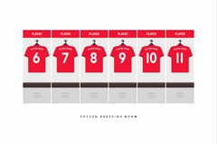 Football or soccer dressing room. Red shirt football team. Vector stock illustration