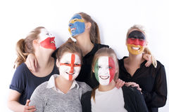Football soccer fans friends Royalty Free Stock Photography