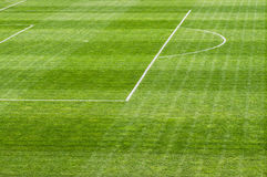 Football soccer field. White line on the green grass of a Football soccer field Royalty Free Stock Photography