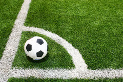 Football in soccer field. Football in soccer green field Royalty Free Stock Photo