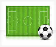 Football (soccer) field with ball Royalty Free Stock Photo