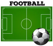 Football soccer field with ball Stock Photos