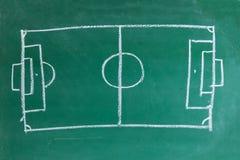 Football soccer field on chalkboard. Football field or soccer field on blackboard stock photography