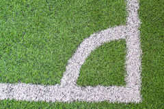 Football (soccer) field corner with white marks Royalty Free Stock Photos