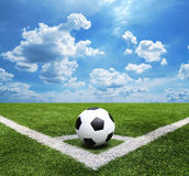 Football and soccer field grass stadium Blue sky background. Soccer field grass stadium Blue sky background Royalty Free Stock Photos