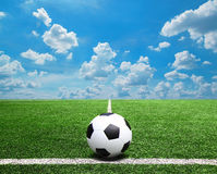 Football and soccer field grass stadium Blue sky background Stock Photo