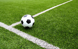 Football and soccer field grass stadium Stock Photos