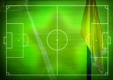 Football (Soccer Field). Illustration with corner flag and space for your text Stock Photo