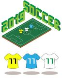Football soccer field isometric template 2019 stock illustration