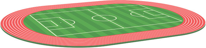 Football soccer field pitch. Three dimensional football soccer field pitch stadium along with racetrack Royalty Free Stock Photo