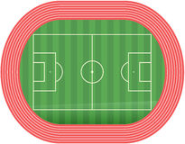Football soccer field pitch vector with racetrack Stock Images