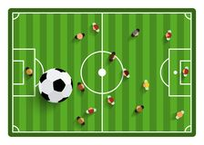 Football - Soccer Field with Players and Ball. Football - Soccer Top View Field with Players and Ball Vector Illustration