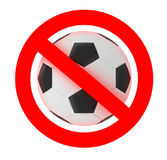 Football soccer forbidden sign Royalty Free Stock Photo