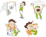 Football - soccer funny caricatures. Fair-play, strategy, fans, loss. Vector illustration Royalty Free Stock Photos