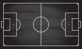 Football or soccer game field  on blackboard texture with chalk rubbed background. Sport infographics element. Royalty Free Stock Image