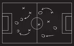Football or soccer game strategy plan isolated on blackboard texture with chalk rubbed background Stock Photo