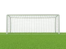 Football - soccer gate on grass. 3D render royalty free illustration