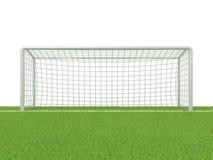 Football - soccer gate on grass. 3D render Royalty Free Stock Photos