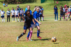 Football Soccer Girl Challenge Play. Girl players challenge for ball at Football soccer match at schools  six a side tournament in Durban Royalty Free Stock Photography