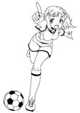 Football soccer girl penalty kick Royalty Free Stock Photos