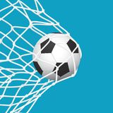 Football / Soccer Goal. Ball in Net on Blue Background. Sport Vector Illustration Royalty Free Stock Images