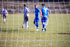 Football and soccer goal net. Close up Stock Photos