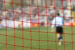 Football soccer goal net. With goalkeeper on grass background Royalty Free Stock Photos