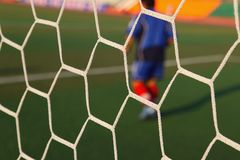 Football soccer goal net. With grass background Royalty Free Stock Photography