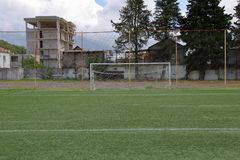 Football soccer goal. With the net at the stadium in the mountains Royalty Free Stock Photos