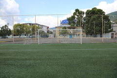 Football soccer goal. With the net at the stadium in the mountains Royalty Free Stock Images