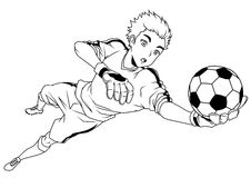 Football soccer goalkeeper catches the ball Royalty Free Stock Image