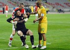 Football or soccer goalkeeper injury Royalty Free Stock Photos