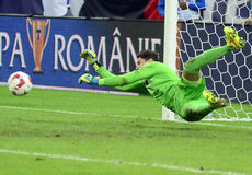 Football or soccer goalkeeper save Stock Photo