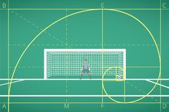 Football / Soccer Goalkeeper Stand at Goal on Field. Mathematical Calculation of Flight of Ball. Principle of The Golden Ratio. Royalty Free Stock Photo