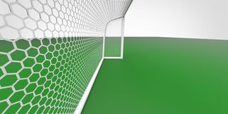 Football (soccer) goals post goalkeeper on clean empty green field. Concept for team, championship, league poster / website design Royalty Free Stock Images