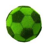 Football/Soccer grassy ball. 3d render of Football/Soccer grassy ball isolated on white Stock Images