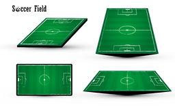 Football soccer green field chalk chacoal line design on white background Royalty Free Stock Photography